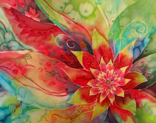 Deborah YOunglao red abstract flower silk painting