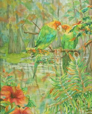 Deborah Younglao silk painting Carolina Parakeets