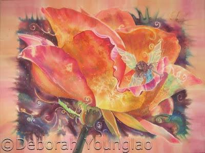 Deborah Younglao silk painting Sonya's Rose
