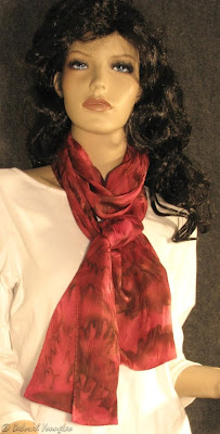 Deborah Younglao silk scarf red and brown