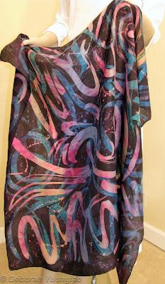 Deborah Younglao silk scarf colorful swirls