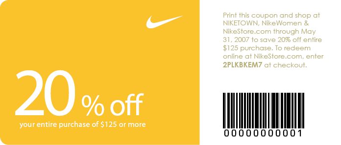 Nike outlet discount coupon