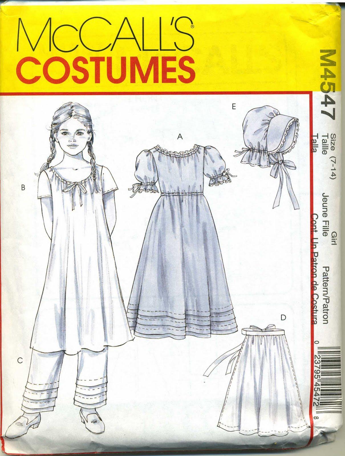 de aa costume fillette maison dans la prairie mccall s 4547 taille 7 14 ans