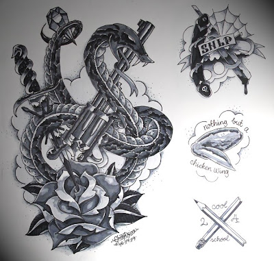 Mostly tattoo ish illustrations.. Here's a preview.