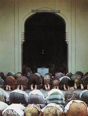 Worshippers in a mosque