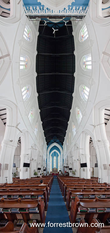 Vertical Panorama of St. Andrew's Cathedral in Singapore