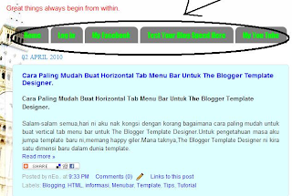Cara Paling Mudah Buat Horizontal Tab Menu Bar Untuk The Blogger Template Designer.