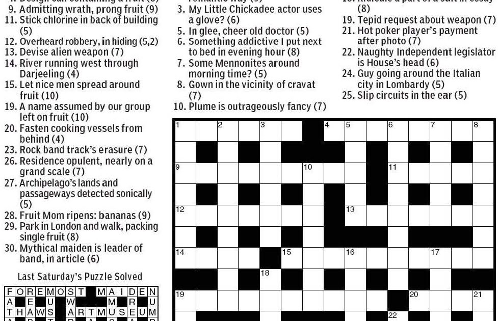 Crossword Clue Fruit  Letters