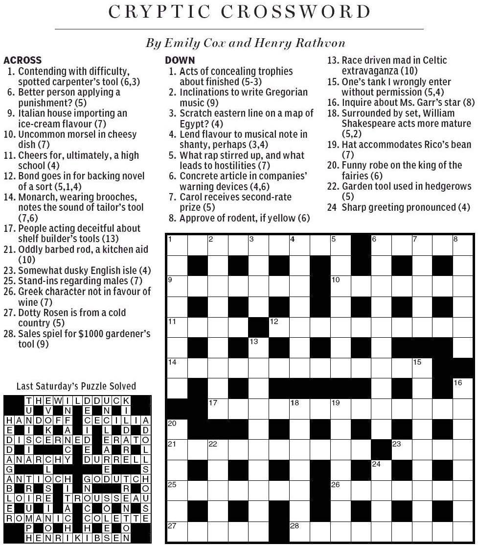 National Post Cryptic Crossword Forum: January 2011