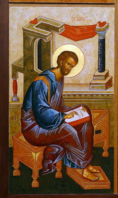 St. Luke writing his holy gospel