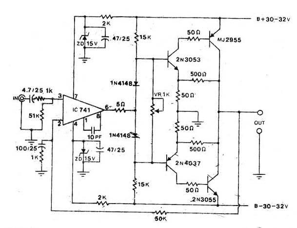 circuit electronics  power amp ocl by 741 2n3055 mj2955