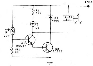 Circuit Electronics: Light Relay Switch By BC547 & BC337