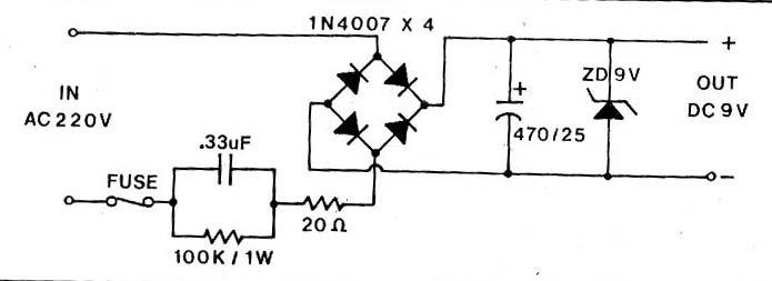 circuit electronics  supply 9vdc no transformer