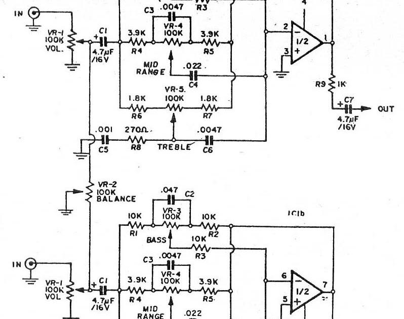 circuit electronics  pre tone control stereo  bass
