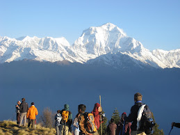 Trekkers are enjoying with Mount Dhaulagiri View-From Poon Hill