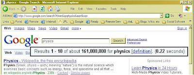 Googe search on 'physics'