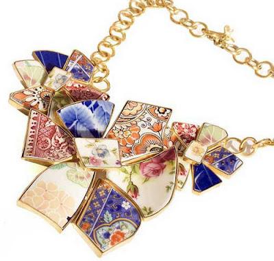 Multi Colored Broken Crockery Unique Jewelry