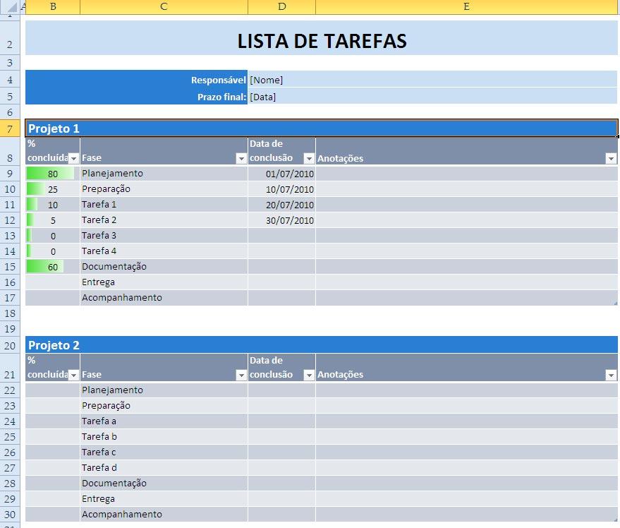 Well-known Planilhas Prontas: Lista de Tarefas AJ97