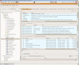 SQLstream Studio showing web content feeds