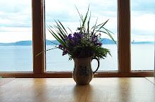 Fioler i en gammel krukke, og speilblank fjord en maikveld.