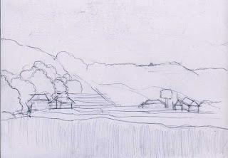 Belajar menggambar cara menggambar pemandangan alam