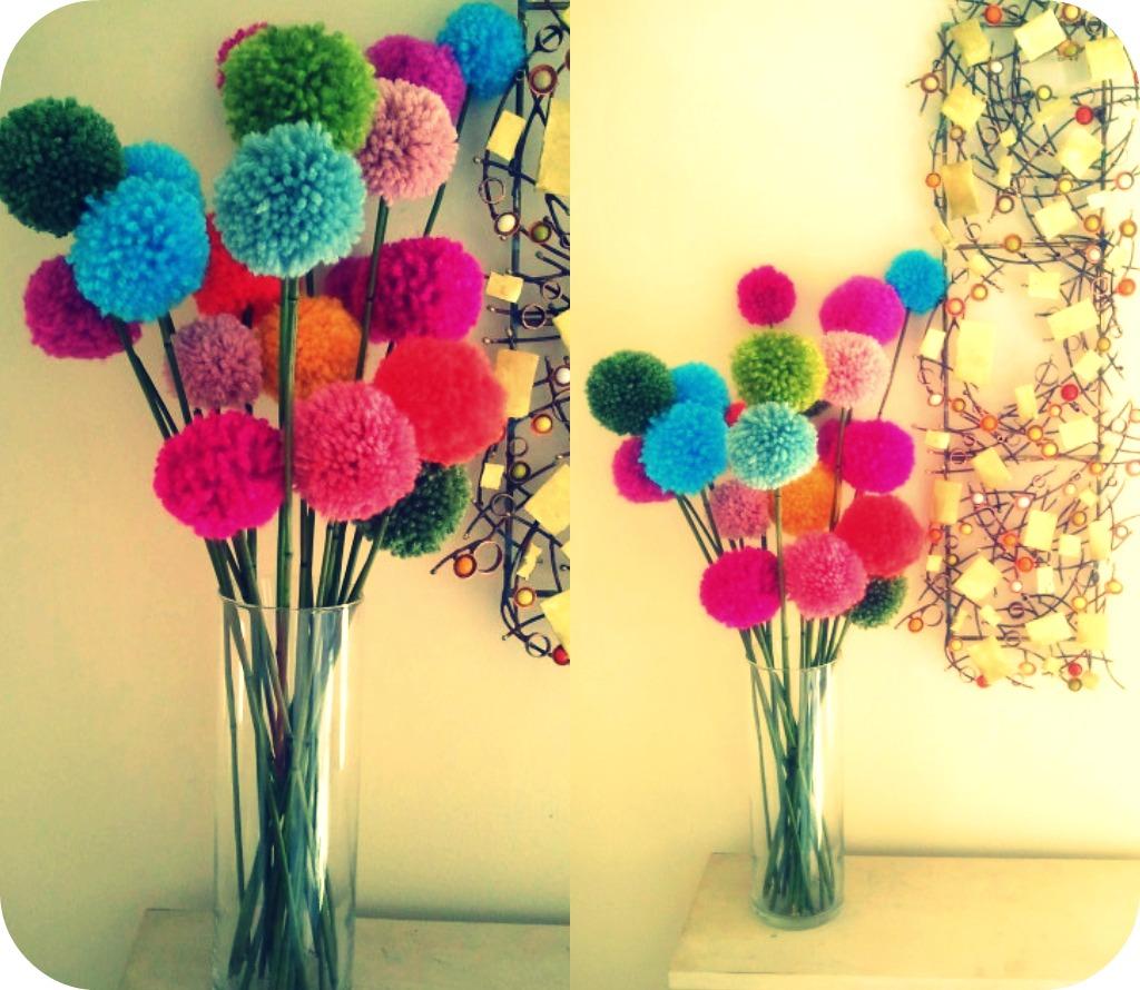 ivey handcrafted tutorial pom pom flowers. Black Bedroom Furniture Sets. Home Design Ideas