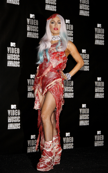 lady gaga meat dress real or fake. lady gaga meat dress real.