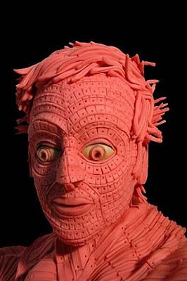 Pink chewing gum sculptures