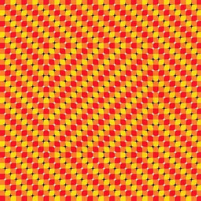 Visual illusion of tilted squares