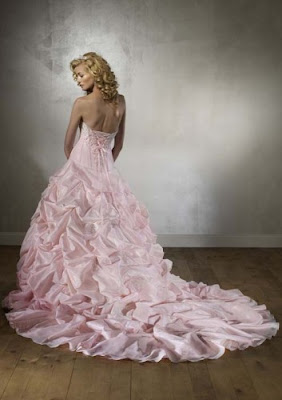 Strapless pink wedding dress