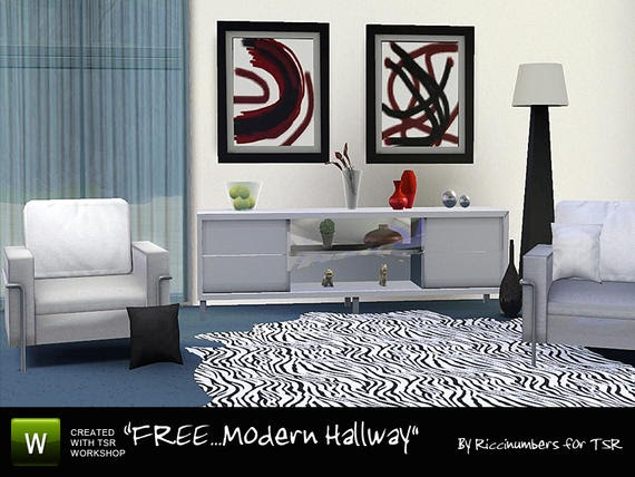 Modern hall by riccinumbers the sims 3 for Oq e mobilia