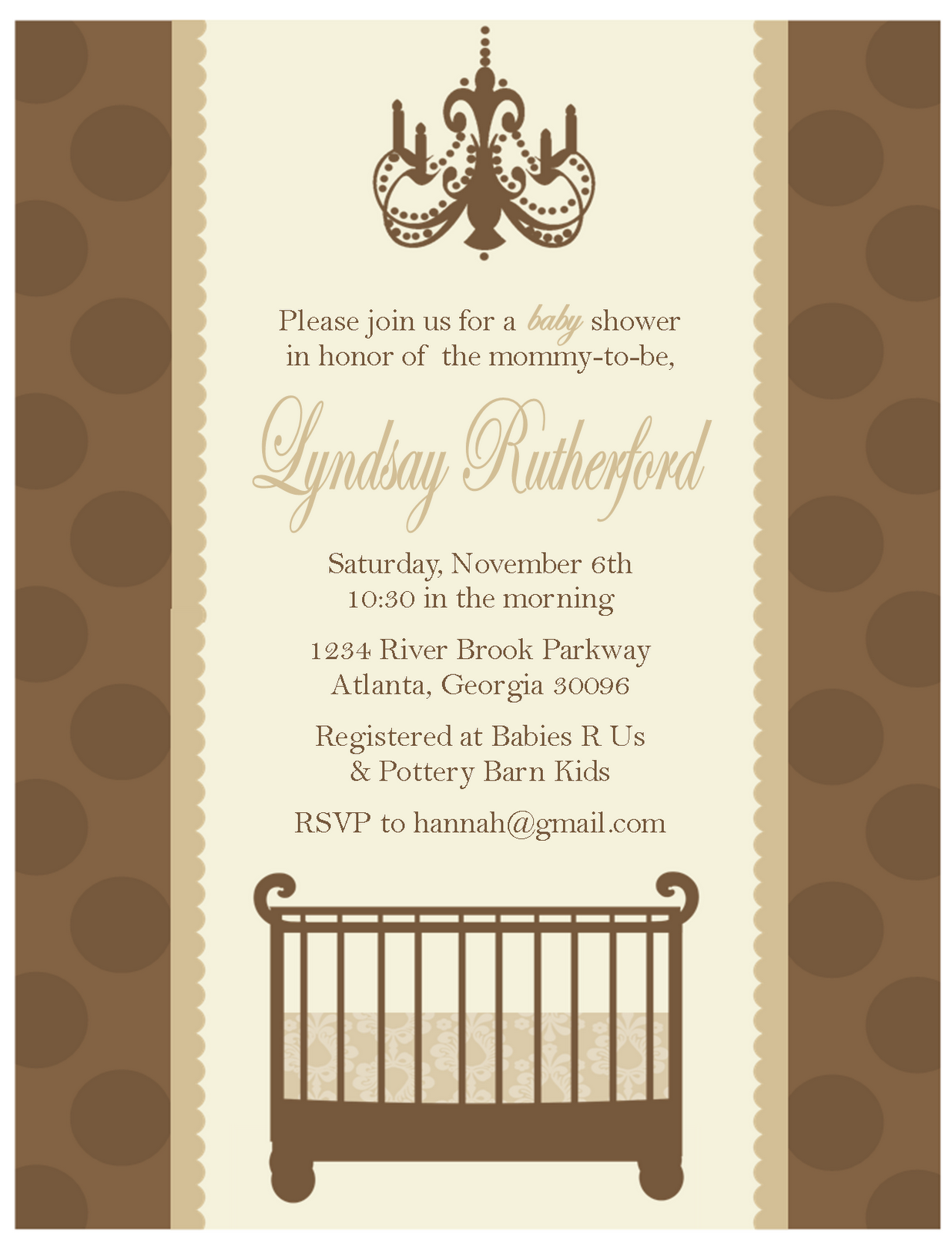 baby shower invitations… classic crib and chandelier  sweet peach, Baby shower