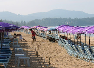 Karon Beach in the morning before the tourists claim their chairs...