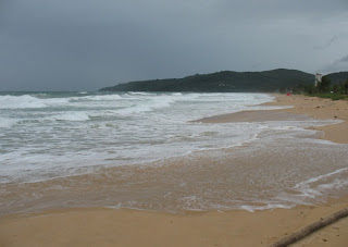 Waves coming right up the beach, Karon, 19th June
