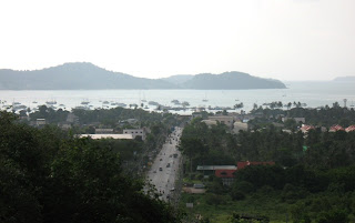 View over Chalong Bay and the road from Kata