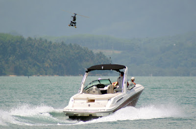 Helicam helicopter and the SkyWater speedboat