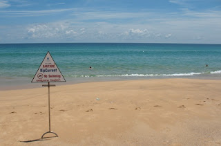 No swimming sign, Karon Beach