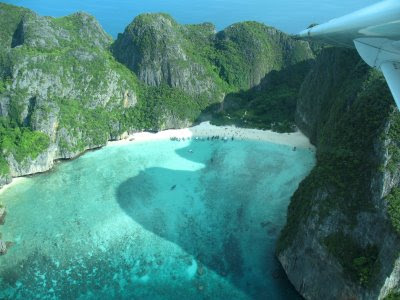 Maya Bay, Phi Phi Islands from the air on seaplane flight