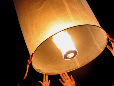Kom Fai lantern being released at our house last night
