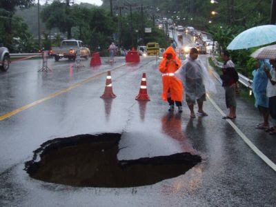 Hole in the road near Patong - photo from Phuket Gazette
