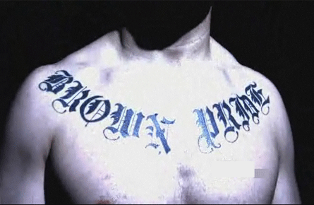 "The above picture is of Cain Velasquez's tattoo. ""Brown Pride"", emphatically"