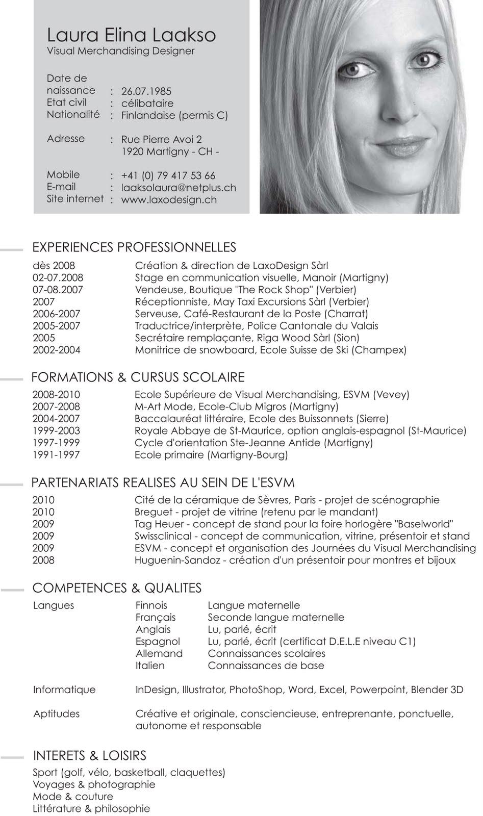 resume format  presentation visuelle cv