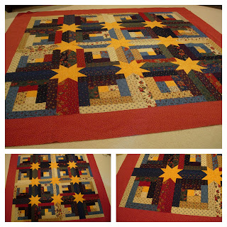 log cabin stars jelly roll quilt