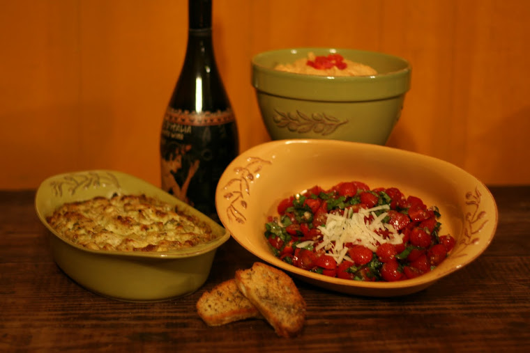 Spicy Artichoke Dip, Bruschetta, and Roasted Red Pepper Hummus