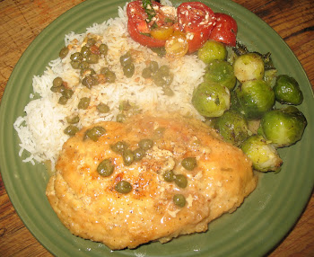Chicken Piccata, Basmati Rice, Brussel Sprouts, Tomato/Basil Salad
