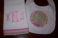 Appliqued Bib and Burp Cloth