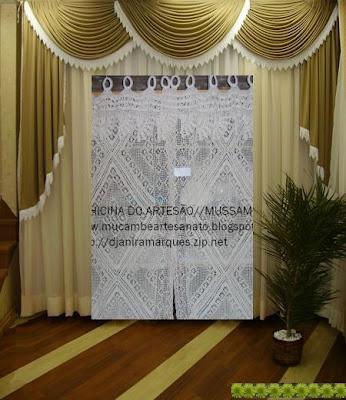 cortina renda crochê para sala com dimensões 3 40 de larg x 2 50 de ...