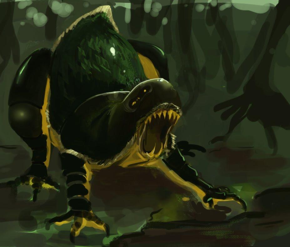 DSG 1591: Creature • GLISTENING BLACKISH BEAST SEEMS LIKE COMBO OF SLUG & DRAGON
