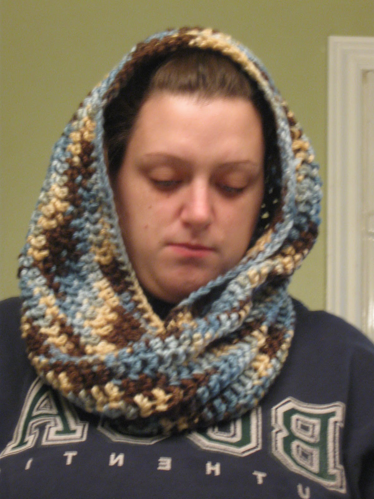 knitted cowl hood.