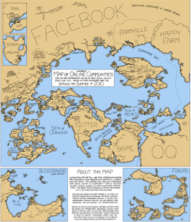 cartoon drawing of a map and the new facebook communication borders